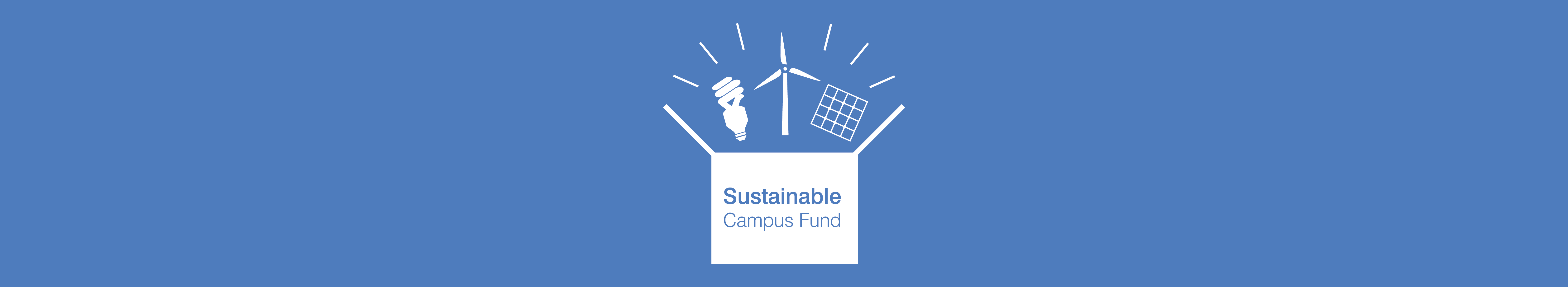 Sustainable Campus Fund - box with wind turbine, bulb and solar panel bursting out