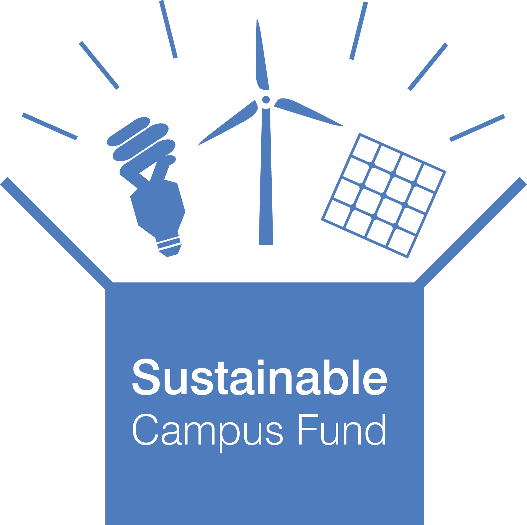Sustainable campus fund: box with wind turbine, solar panel and light bulb bursting out